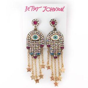 Betsey Johnson Hamsa Lucky Evil Eye Earrings